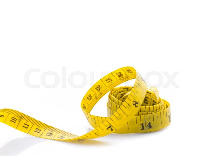 Stock image of 'Yellow Measure tape on white background'