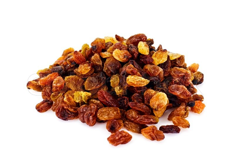 Stock image of 'Handful of Raisins Isolated on White Background Studio Photo'