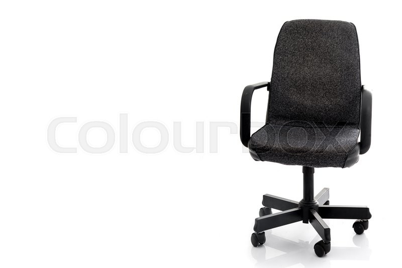 Stock image of 'The office chair from black leather and fabric. Isolated'