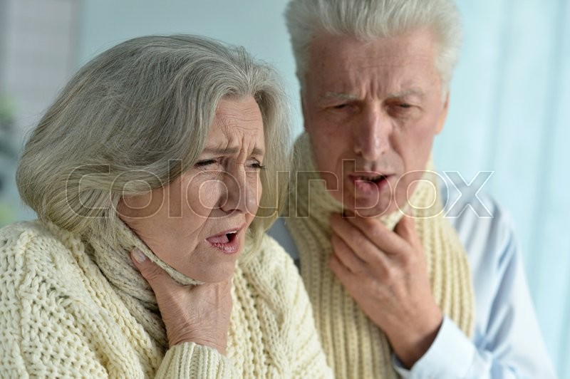 Stock image of 'Portrait of a ill senior couple close up'