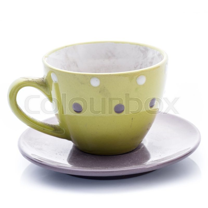 Stock image of 'Dirty coffee cup with dust isolated on white'