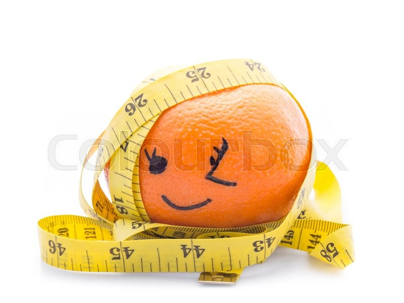 Stock image of 'Orange with yellow measuring tape wrapped around it. On a white background.'