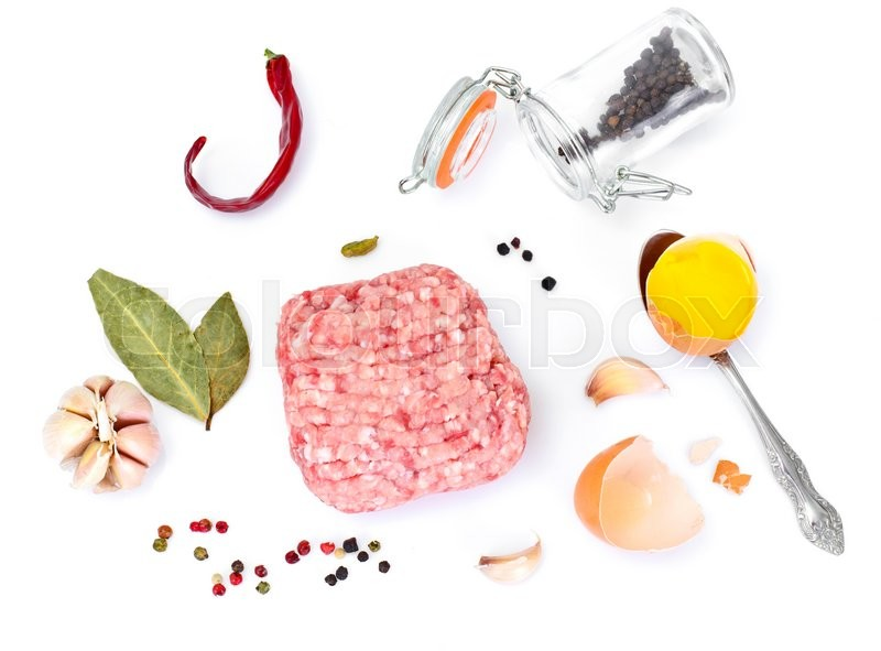Stock image of 'Chopped Meat on White Background Studio Photo'
