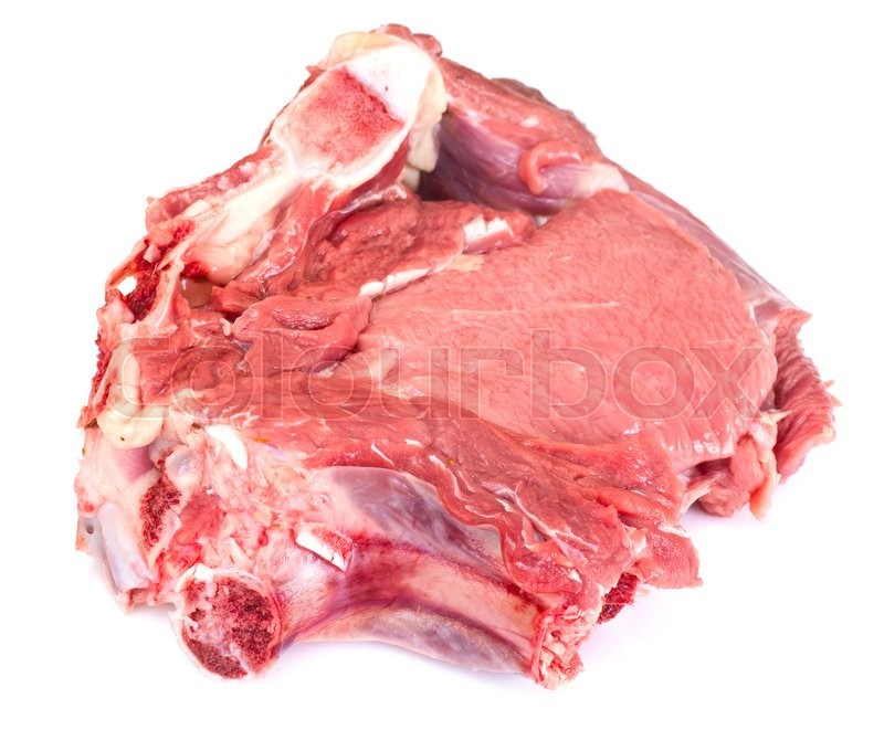 Stock image of 'A Piece of Fresh Raw Beef, Veal Isolated on White Background Studio Photo'
