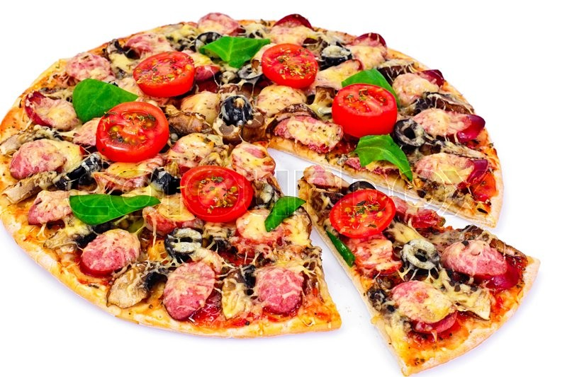 Stock image of 'Pepperoni Pizza with Sausage, Cheese, Mozzarella, Olives and Basil Studio Photo'