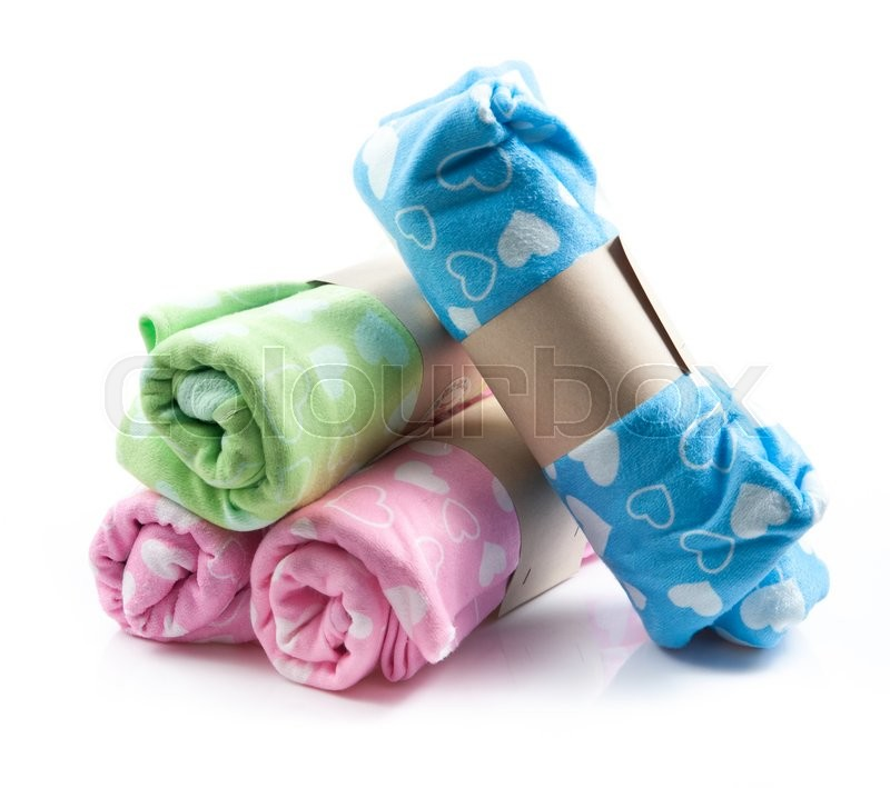 Stock image of 'Colorful microfiber towels isolated on white'