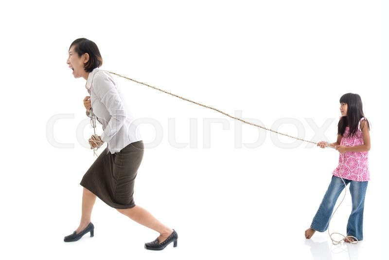 Stock image of 'Conceptual working mother pulling her daughter on white.'