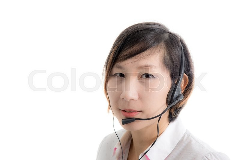 Stock image of 'Asian customer service operator woman with headset, isolated on white background'