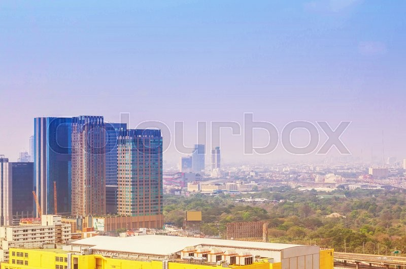 Stock image of 'Office buildings with the blue sky.'