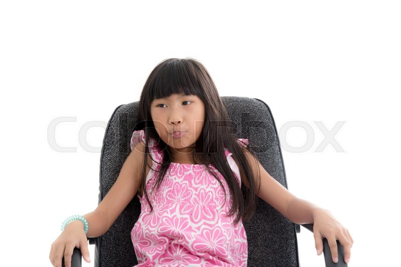 Stock image of 'Asian girl sitting on office chair and thinking something.'