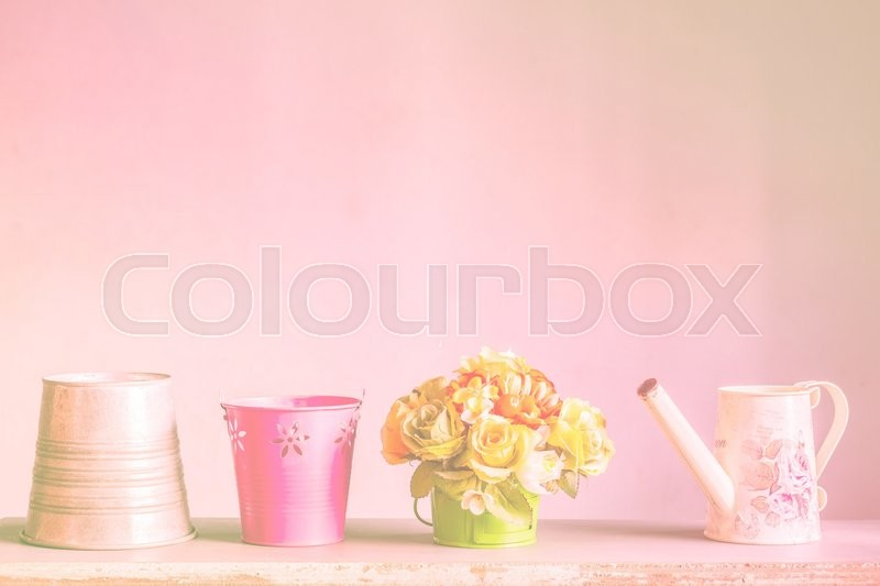 Stock image of 'Flower pots on the wooden'