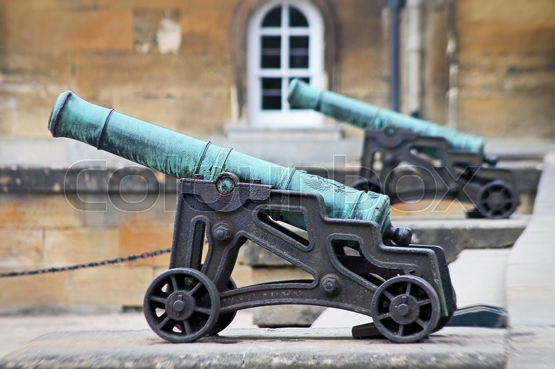 Editorial image of 'Ornamental  canon in the maion courtyard of Blenheim Palace Oxfordshire England. The Palace is the birth place of Sir Winston Churchill in 1874.'
