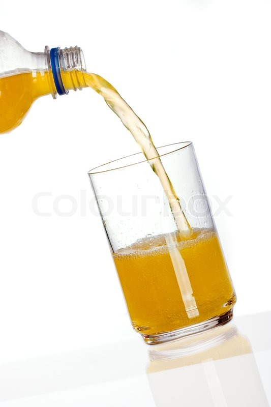 orange drink gie en in glas mit reflexion auf wei em hintergrund stockfoto colourbox. Black Bedroom Furniture Sets. Home Design Ideas