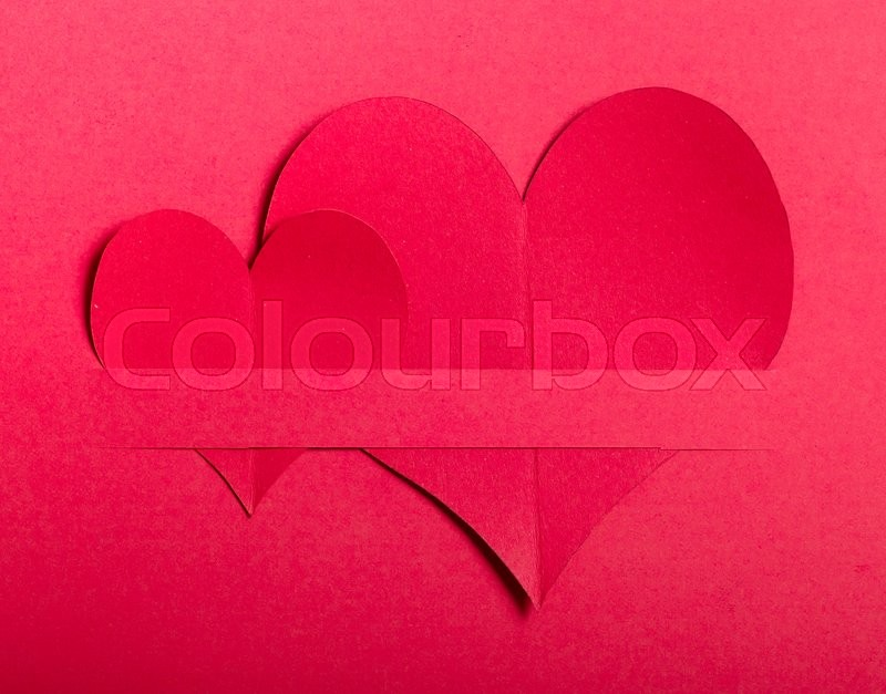 Stock image of 'Valentines day,Red paper heart on red paper'