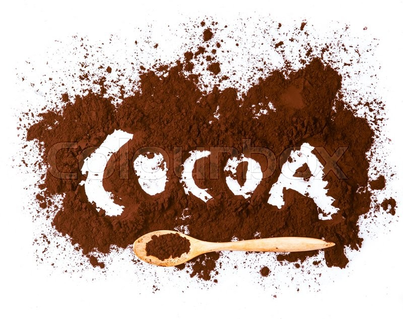 Stock image of 'Cocoa written with cocoa powder isolated on white background'
