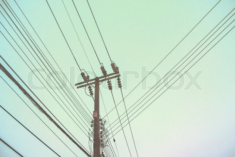 Electricity poles witht the sky, stock photo
