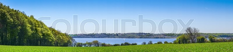 Stock image of 'Green fields and trees by the sea in panorama'