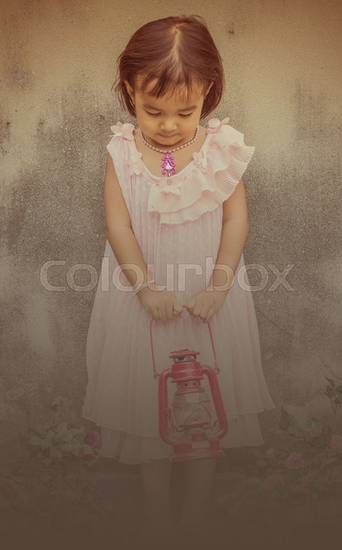 Stock image of 'Girl standing at side walls.'