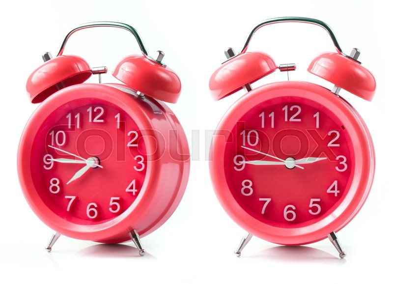 Stock image of 'Red alarm clock on white background'