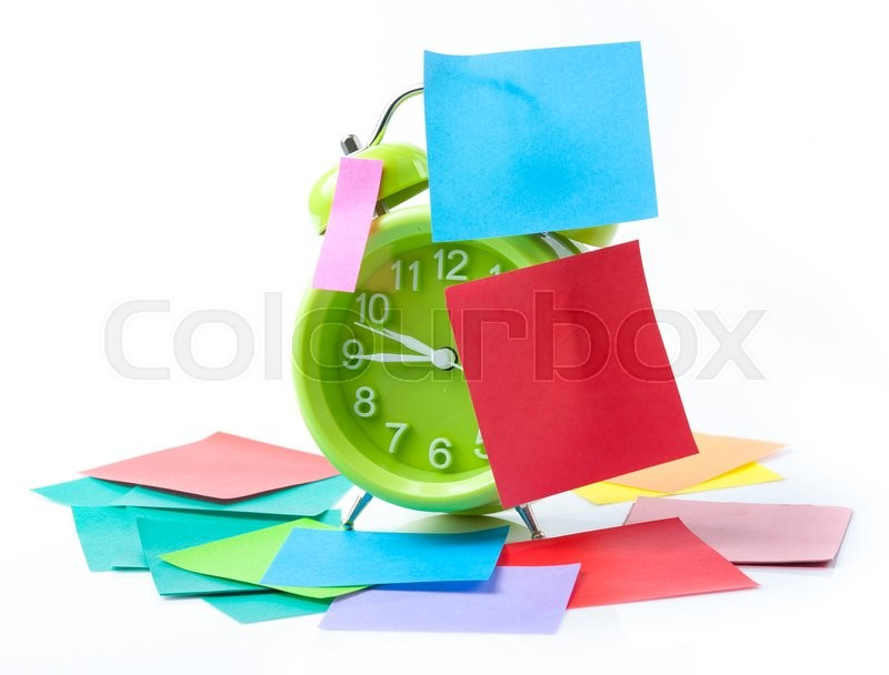 Stock image of 'Green alarm clock and sticky paper with Text Space isolated on white background'