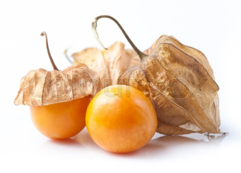 Stock image of 'Cape gooseberry, physalis isolated on white background.'