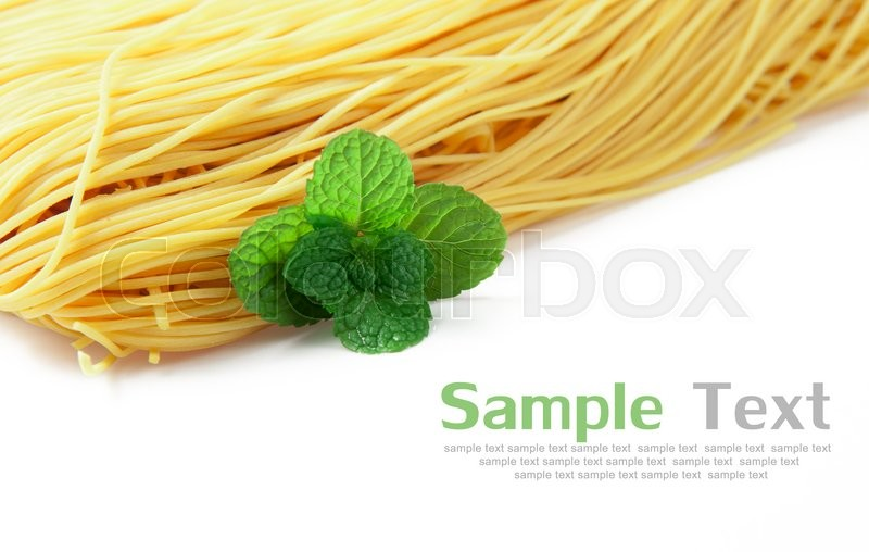 Stock image of 'Egg noodles on a white background'
