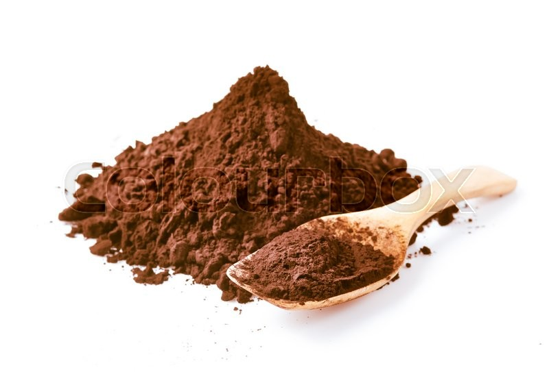 Stock image of 'Cocoa powder isolated on white background'