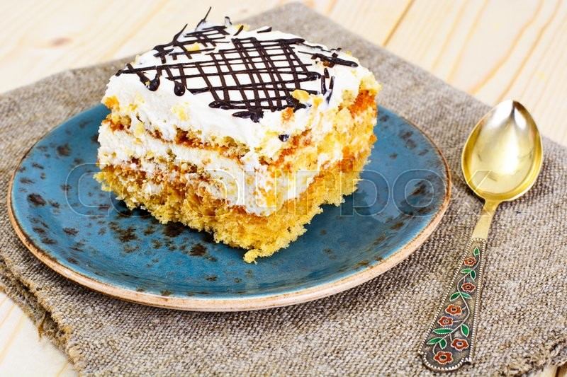 Stock image of 'Honey Cake with Sour Sream Studio Photo'