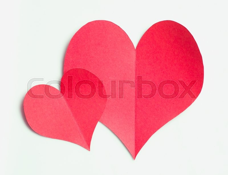 Stock image of 'Valentines day,Red paper heart on white background'