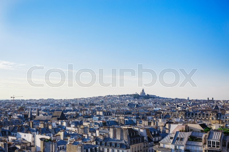 Stock image of 'Apartment blocks in Paris, France, view from the Eiffel Tower'