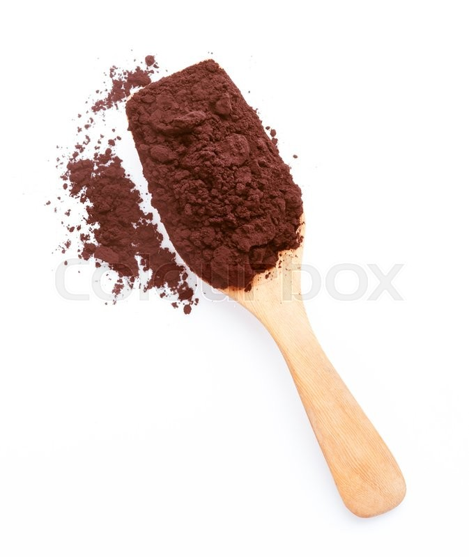 Stock image of 'Cocoa in a wooden spoon isolated on a white background'