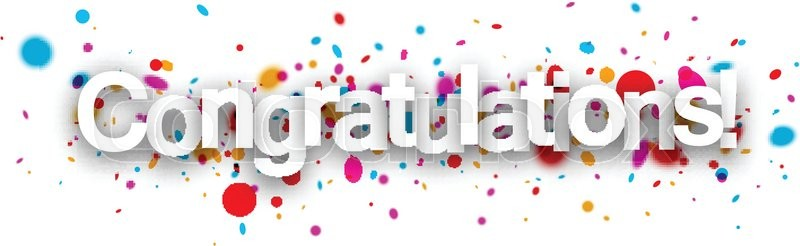 congratulations paper banner with color drops vector illustration