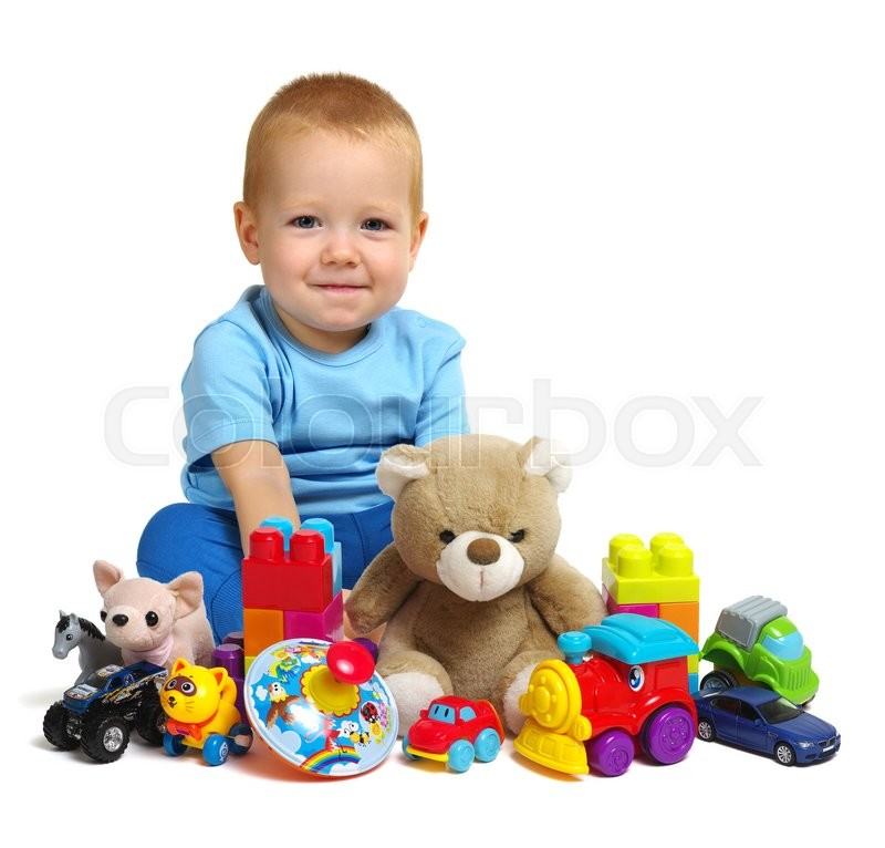 Stock image of 'Boy and toys isolated on white background'
