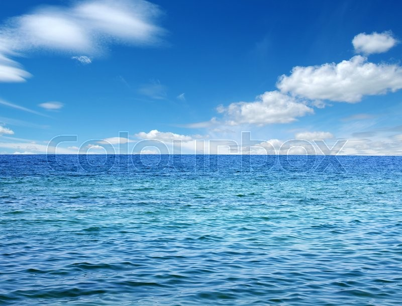 Stock image of 'Blue sea water surface on sky'