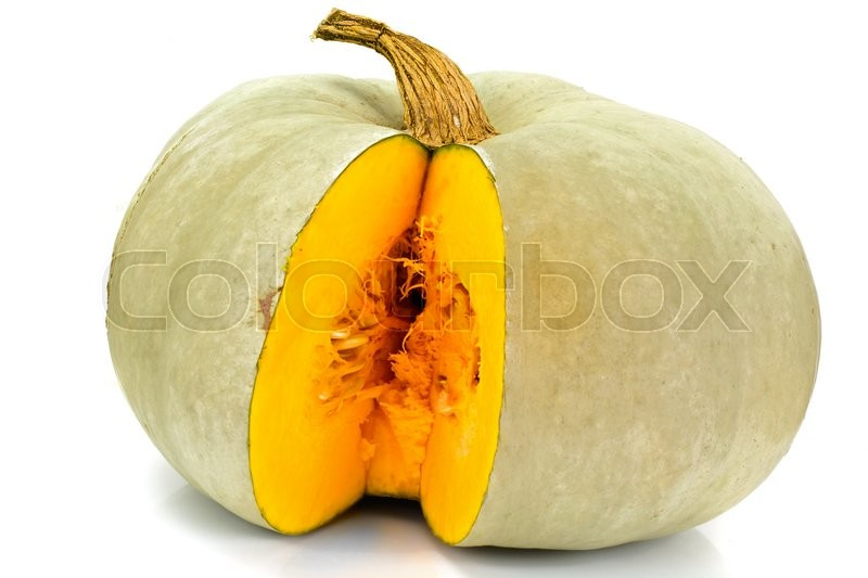 Stock image of 'Fresh Tasty Sweet Green Pumpkin Isolated on White Background Studio Photo'