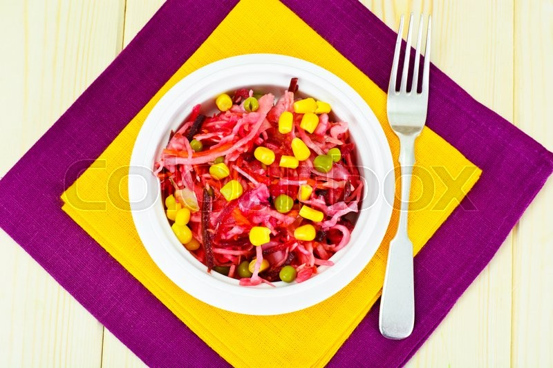 Stock image of 'Salad of Beets and Carrots with Sauerkraut, Green Pea,  Spices Studio Photo'