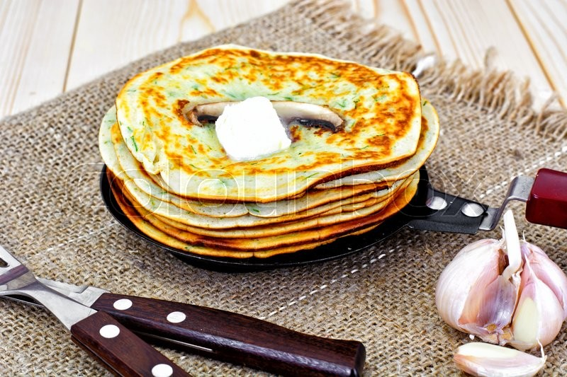 Stock image of 'Tasty Pancakes Stack with Mushroom Studio Photo'