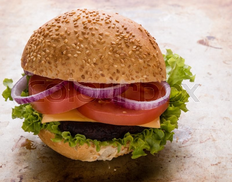 Stock image of 'tasty classic homemade hamburger on steel plate'