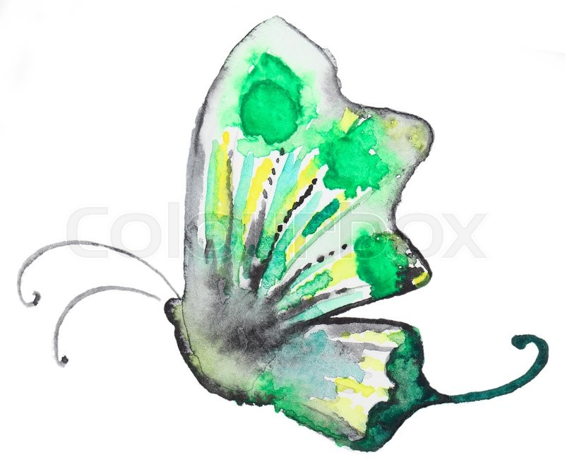 Stock image of 'Abstract Watercolor hand drawn colorfyl butterfly. Hand painted watercolor butterfly in Hires.  Perfect for wedding invitations, greeting cards, quotes, blogs, posters and logo. '