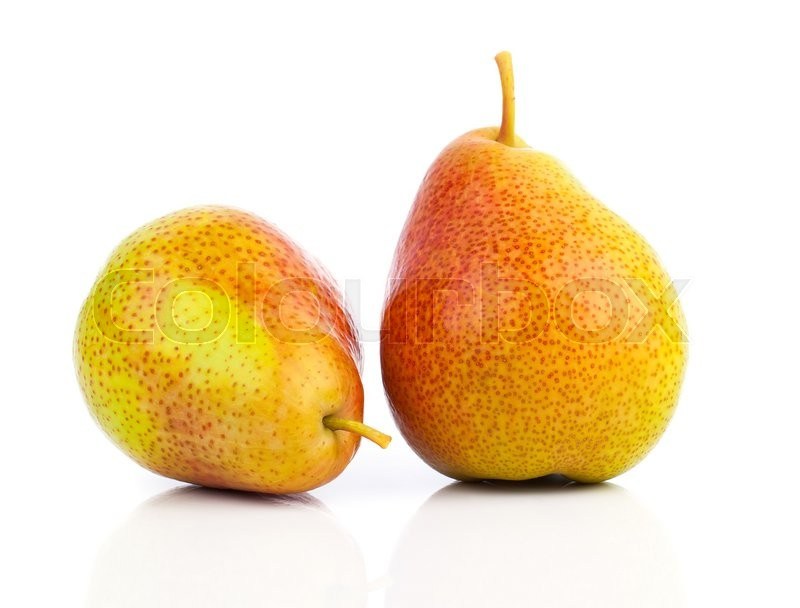 Stock image of 'Two yellow pears isolated on white background'