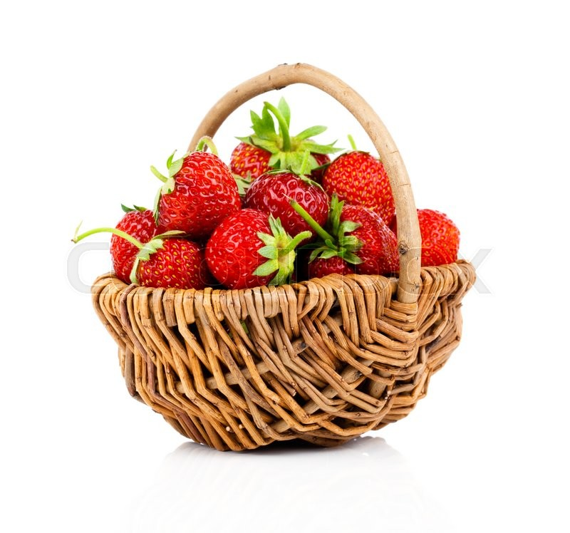 Stock image of 'Strawberries in wicker basket, on white background'