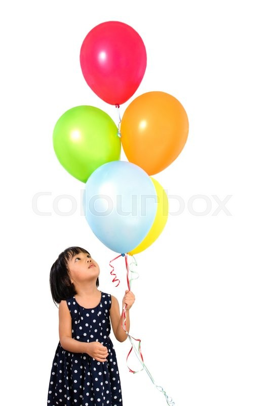 Stock image of 'Asian Little Chinese Girl Holding Colorful Balloons in isolated White Background'