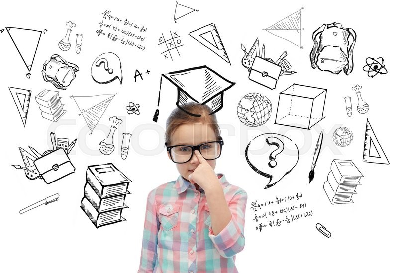 Stock image of 'childhood, school, education, learning and people concept - happy little girl in eyeglasses with doodles'