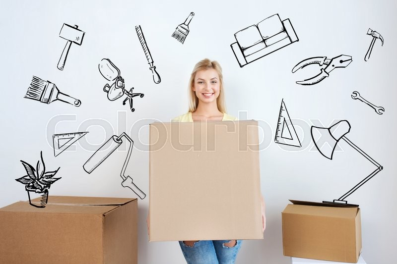 Stock image of 'moving, repair, housing, accommodation and people concept - smiling young woman with cardboard box at home over doodles'