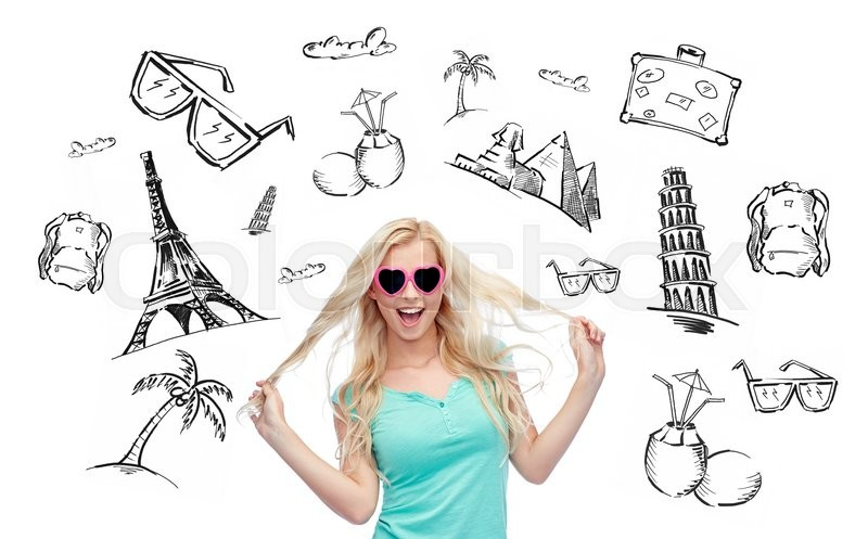 Stock image of 'people, tourism, vacation and summer holidays concept - smiling young woman or teenage girl in sunglasses holding her strand of hair over touristic doodles'