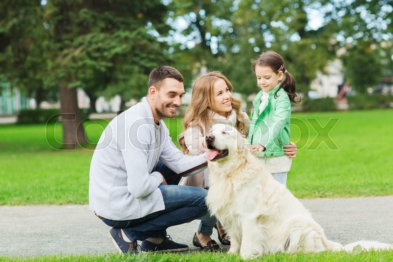Stock image of 'family, pet, domestic animal and people concept - happy family with labrador retriever dog on walk in summer park'