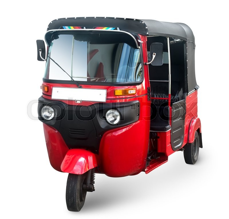 Stock image of 'Red tuk tuk isolated on a white background'