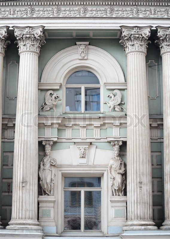 Roman greek architecture design in window of a building for Window design arch
