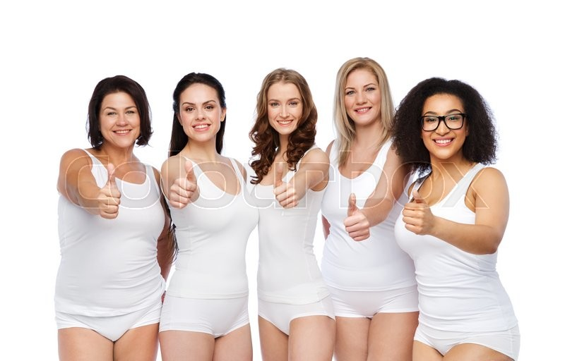 Stock image of 'gesture, friendship, beauty, body positive and people concept - group of happy different women in white underwear showing thumbs up'