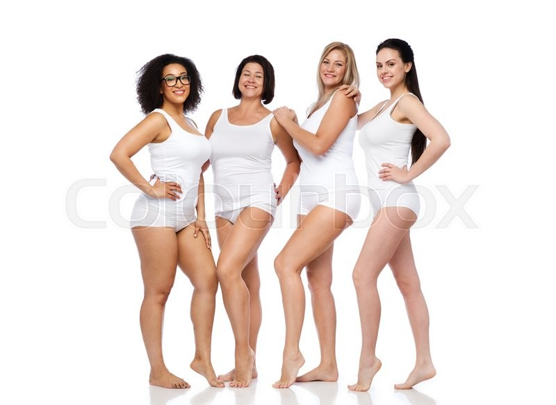 Stock image of 'friendship, beauty, body positive and people concept - group of happy women different in white underwear'